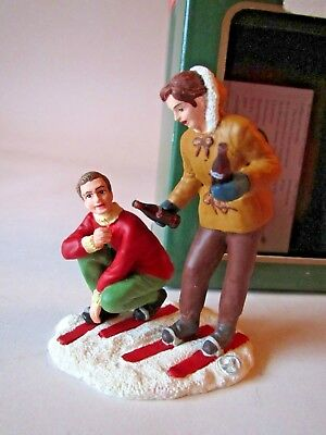 1995 Coca-Cola Town Square Christmas Village Accessory SKIING ADVENTURE Skiers