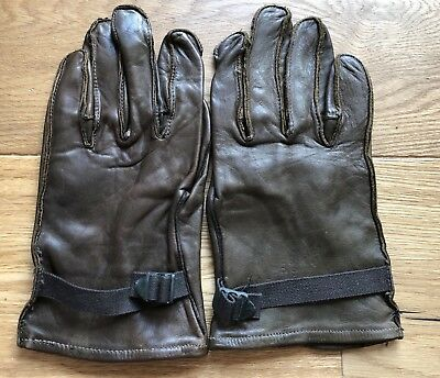 Rare WWII US ARMY QM Brown Leather Gloves Shell Dated 1945 Air Corps Or Infantry