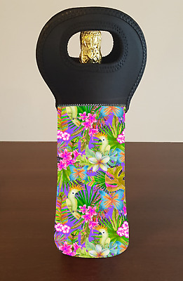 Tropical Palm Leaves Bird Wine Bottle Cooler Carry Bag