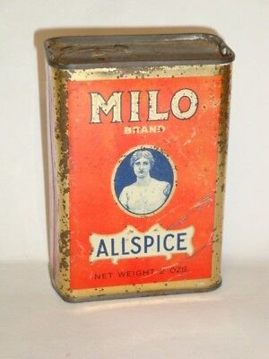 Nice Old Tin Litho Milo Brand Allspice Advertising Grocery Spice Tin Can
