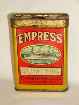 Nice Old Tin Litho Empress Brand Turmeric Advertising Grocery Spice Tin Can