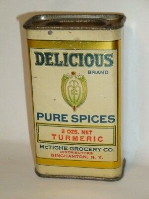 Nice Old Tin Litho Delicious Brand Turmeric Advertising Grocery Spice Tin Can
