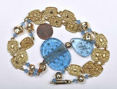 1930's Chinese Blue Peking Glass Carved Carving Court Necklace Bead Necklace