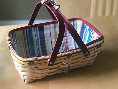 Longaberger Jelly Belly Basket With Liner Protector Tie On Signatures Rare 2007