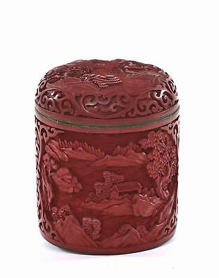 Vintage Chinese Cinnabar Lacquer Deep Carved Carving Enamel Tea Caddy Box