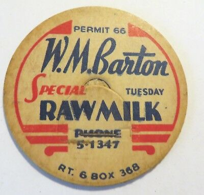 "Vintage Raw  Milk Cream Bottle Cap 1-5/8"" W.M. Barton"