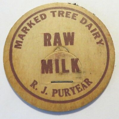 "Vintage Raw  Milk  Bottle Cap 1-5/8"" Marked Tree Dairy R.J. Puryear"