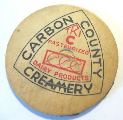 "Vintage Milk Dairy  Bottle Cap 1-5/8"" Carbon County Creamery"