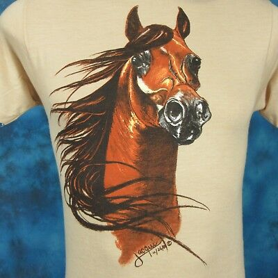 NOS vintage 80s HORSE PAPER THIN T-Shirt XXS nature cowboy wild animal art soft