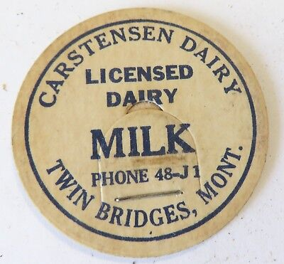"Vintage Milk Cream Bottle Cap 1-5/8"" Carstensen Dairy Twin Bridges Montana"