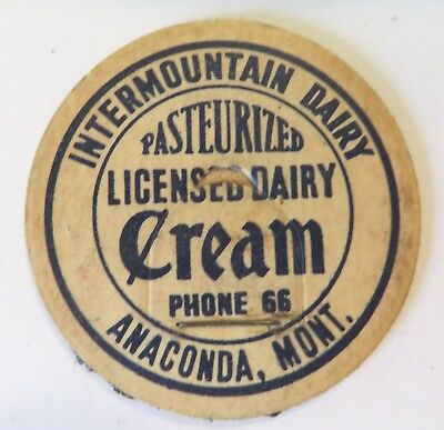 "Vintage Milk Cream Bottle Cap 1-5/8"" Intermountain Dairy Anaconda Montana"