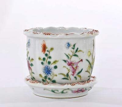 1930's Chinese Famille Rose Porcelain Planter Pot with Under Plate Flower