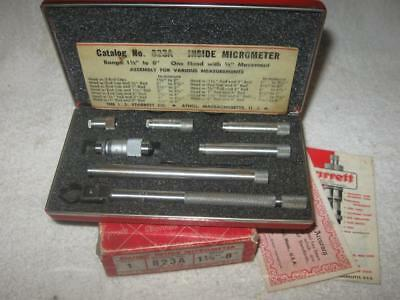 """Vintage Starrett 823A Tubular Inside Micrometer Set with Case, 1-1/2"""" to 8"""""""