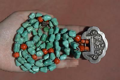 Chinese Sterling Silver Calligraphy Lock Pendant Coral Turquoise Bead Necklace