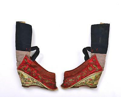 Early 20th Century Chinese Silk Embroidery Gold Threads Bound Feet Lotus Shoes