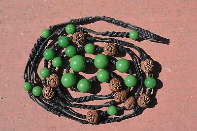 1930's Chinese Green Peking Glass & Seed Pit Carved Carving Bead Necklace