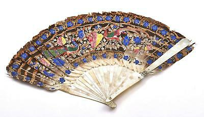1920's Chinese Feather & Mother of Pearl Carved Carving Fan Butterfly