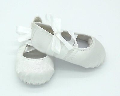 Doll Shoes - White Hard Toe Ballet Shoe for Baby Born / Baby Alive