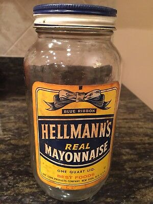 RARE vintage HELLMANN'S MAYONNAISE jar with lid and label 1 quart