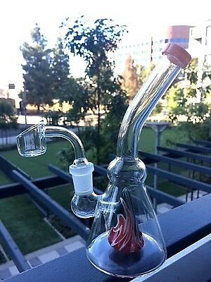 "Collectible Tobacco Glass Water Pipe Bong Bubbler Hookah Rig 7"" w Banger + Bowl"