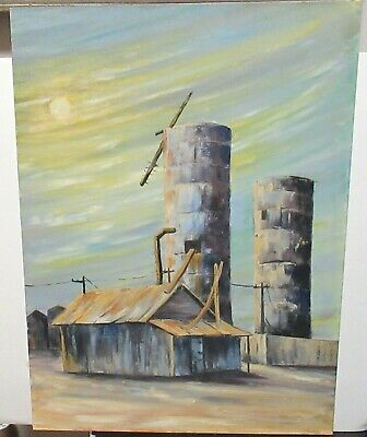 Midwest Farm Silo's Barns During A Storm Oil Board Landscape Painting Unsigned