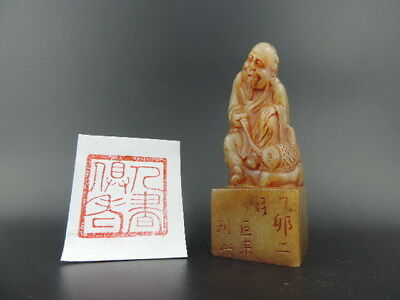 Old Chinese Shoushan Stone Seal Chop Stamp Seal Signet Figure Statue G