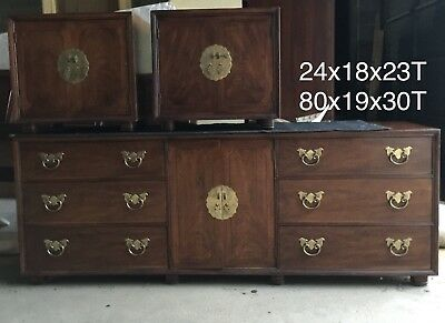 Henredon Chinoiserie King Bed, Dresser w/mirror, 2 Nighstnds, Clothing Armoire