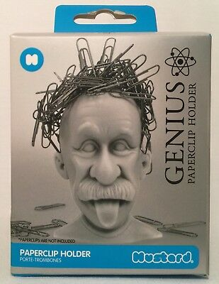 Magnetic Genius Einstein Paper Clip Holder, Mustard