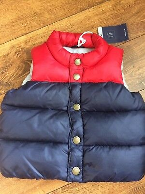 Baby Gap Boy's Red Navy Blue Color Block Puffer Coat Vest Size 6-12 months