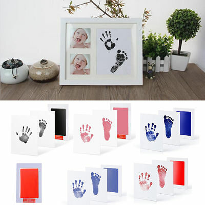 For Newborn Baby Handprint Footprint Imprint Clean-Touch Ink Pad Photo Frame Kit