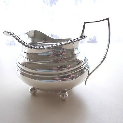 Vintage Quality Silver Plate Cream Milk Jug Pitcher  4 Ball Feet  William Hutton