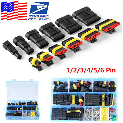 USA Car Truck Waterproof Electrical Connector Terminal 1/2/3/4/5/6 Pin Way+Fuses