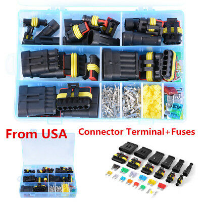 Car Waterproof 1/2/3/4/5/6 Pin Way Electrical Connector Terminal+Blade Fuses USA