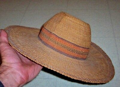 Yakima Native American Indian Hat / Antique Straw Hat / Southwestern Cowboy Hat
