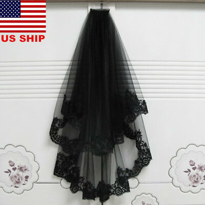 US! Veils With Comb Lace Bridal Tulle Black Wedding Halloween Dress Cosplay