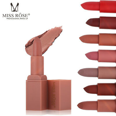 MISS ROSE Waterproof Long Lasting Lipstick Matte Lip Gloss Makeup Cosmetics New