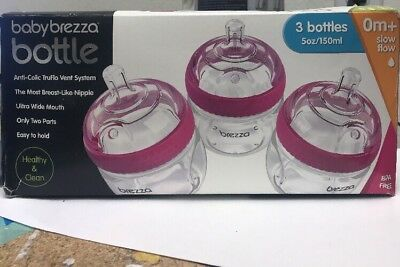 Baby Brezza 3 Pack (5 oz) Natural Baby Bottles - Easiest To Clean - Pink