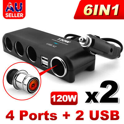 2x 4 Way 12V 24V Multi Socket Car Cigarette Lighter Splitter USB Charger Adapter