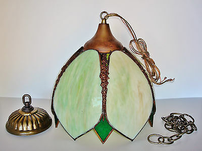 50's Vintage Stained Cut Slag Glass with Brass Hanging Ceiling Lamp