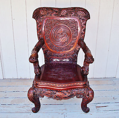 Chinese Rosewood LONGEVITY Throne Chair - Carved MINOGAME Turtles with Seaweeds