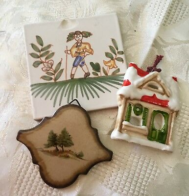 3 unusual collectors ceramic tiles one Fitz and floydd