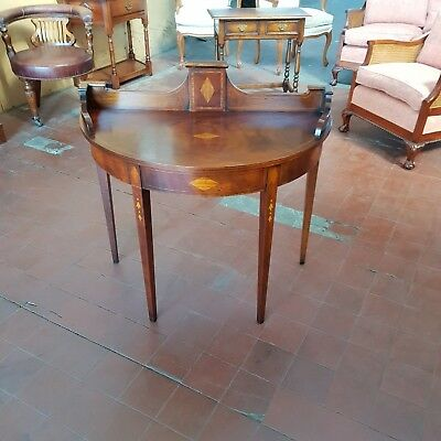 Stunning Flamed Mahogany Inlaid Bow Fronted Console/hall Table Wash Stand Base