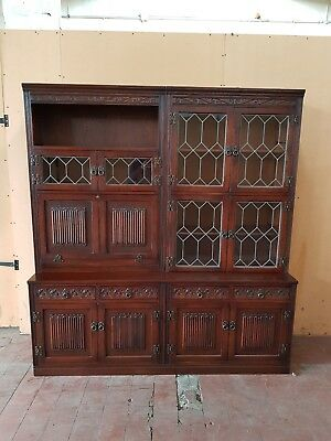Old Charm Oak Linen-Fold Large Leaded Dresser/sideboard/display Cabinet/bureau