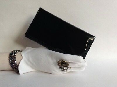 Vintage 1960s Large Black Faux Patent Coin Purse Wallet With Bright Red Lining
