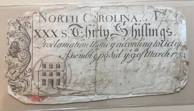 1754 colonial North Carolina 30 shillings Proclamation money