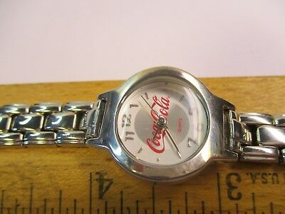 Coca Cola Quartz Collectible Silver Tone Analog Women's Watch RUNS & LOOKS GREAT