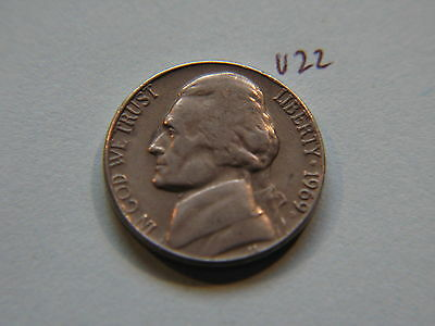 1969 D Nickel 5c Five Cent coin, Jefferson 5 cents USA