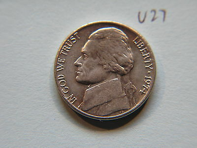 1974 Nickel 5c Five Cent coin, Jefferson 5 cents USA