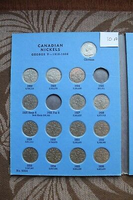 Canada,Canadian Nickel 5 Cent Collection 1922 - 1960 in Whitman Folder,w 1926 N6