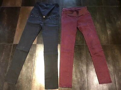 2x H&M Maternity Skinny Stretch Trousers Size Uk 10 Eur 38